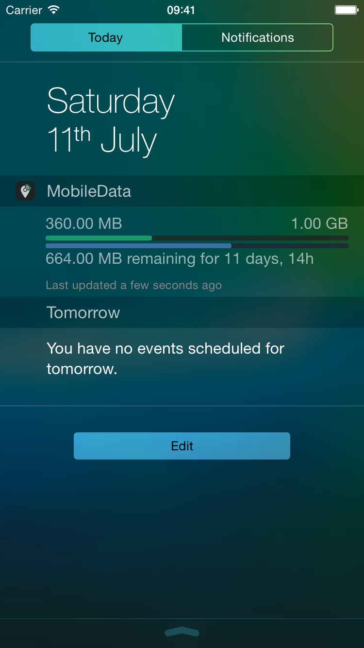 MobileData Today-Widget